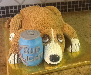 Dog with Beer Can Cake